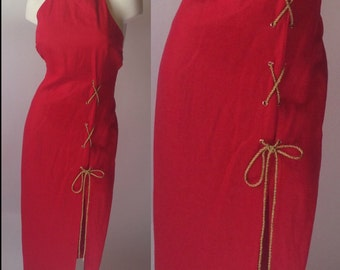 Bloomingdale's Red Halter Dress with Gold Tone Detail