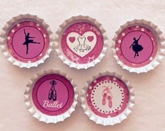 Set of 5 Ballet Bottle Cap Magnets
