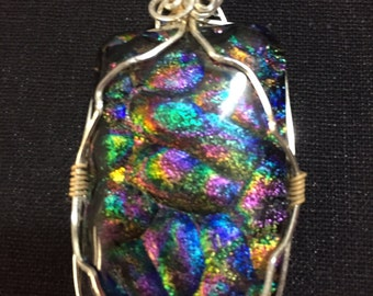 Items Similar To Galaxy Dichroic Fused Glass Pendant On Etsy
