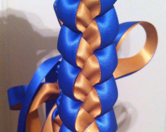 2017 Graduation Lei SALE 25% OFF! 2017 Ribbon Lei Royal Blue and Gold Lei Single Braided Satin Ribbon Lei