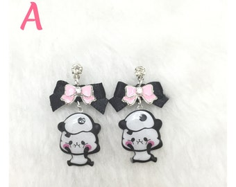 Cute Panda Bow Earrings