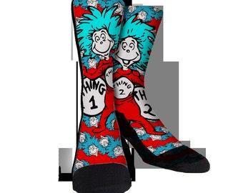 Thing 1 and Thing 2 Socks JustSockz Crew