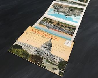 Washington, DC - Vintage Souvenir Postcard Folder - Collectible Pictures Images Scrapbooking Memorabilia - Washington Monument - Tourist