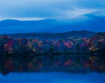 After Sunset, Price Lake : Mountains, Blue Ridge Parkway, Fall, Reflections, Fall Colors, Clouds, Blue,Photograph, Canvas