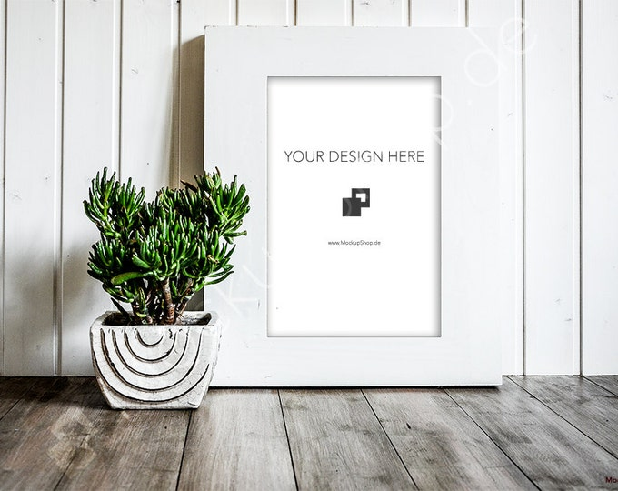 FRAME MOCKUP WHITE Frame / Empty Frame Mockup / Artprint Mockup / Wallart Mockup / Empty Frame Mockup / wooden background / Mockup Frame