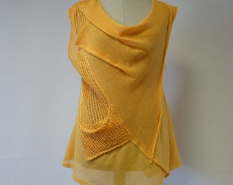 Linen yellow melon top, M size. Perfect for Summer.