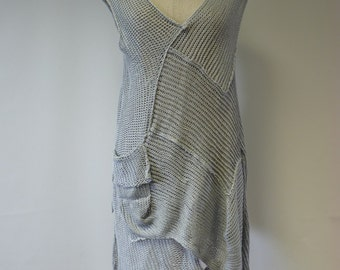 Irregular transparent silver linen tunic, L size. Only one sample, perfect for Summer.