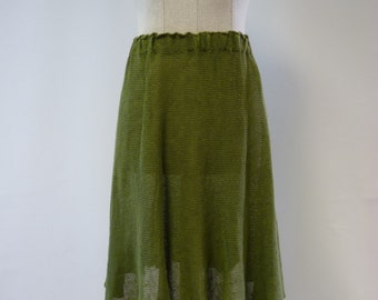 Casual transparent green linen skirt, M size. Handmade, only one sample.