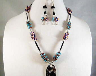 BEADED WIRE NECKLACE with Earrings