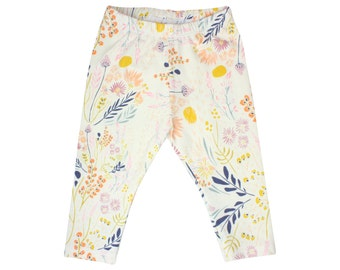 Wild Flower Baby Leggings FlowerToddler Leggings Girl Leggings Floral Leggings Girl Baby Pants Floral Baby Headband Floral Baby Gift Cream