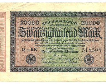 Reichsbanknote, German banknote, 20000 Mark, 1923, Paper Money, Currency, European Change - About Uncirculated, AU