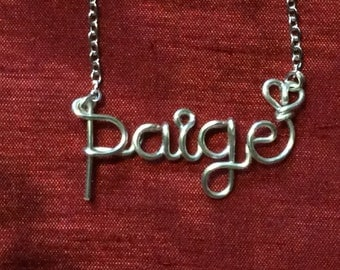 Paige necklace,Name Necklaces,Personalized wedding jewelery,Birthday gift,Bridesmaid necklace,Custom Name necklace