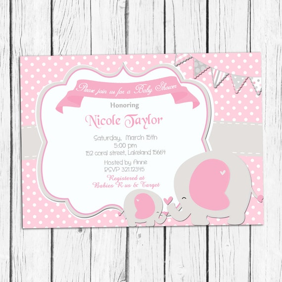 pink and grey baby shower invitation elephant baby shower invitation