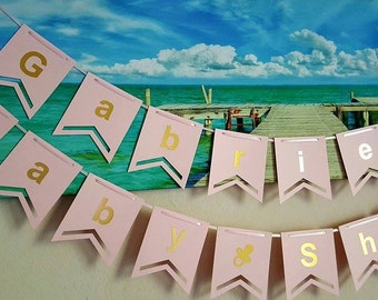 Baby Shower Banner, Girl Baby Shower, Baby Shower, Baby Girl Banner, Pink Baby Shower, Girl Banner, Pink and Gold Banner, New Baby Banner