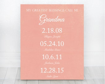 My Greatest Blessings Call Me Grandma - Mothers Day Gift for Grandma Grandparents Gift Great Grandma Gift Grandchildren Dates Sign