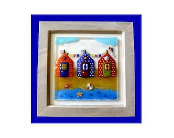 Handmade fused glass 'beach huts' picture.