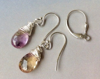 Genuine Ametrine Earrings, Sterling Silver, Ear Wires, Leverbacks, Gold Filled, Amethyst Earrings, Citrine Earrings, Genuine Gemstones