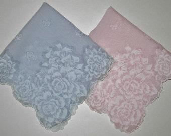 Vintage Hankies, Matching Pair Of Blue And Pink Roses