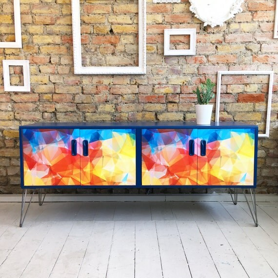 Upcycled vintage retro mid century Gplan sideboard Geometric blue hairpin legs