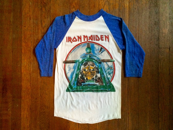 Vintage 1980s Iron Maiden Aces High 1984 White Amp Blue Raglan