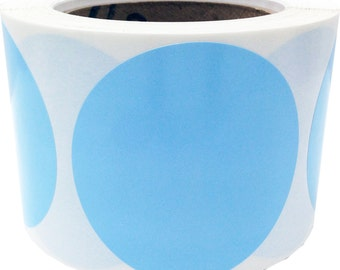 500 Large Baby Blue Color Coding Labels - 3 Inch Round