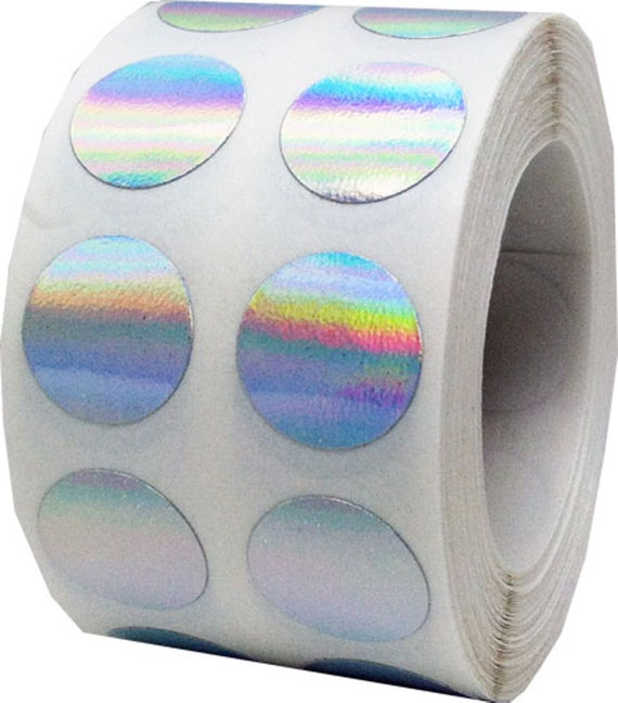 "1,000 Silver Hologram Dot Stickers - Small 1/2"" Inch Round Adhesive Labels/Roll"