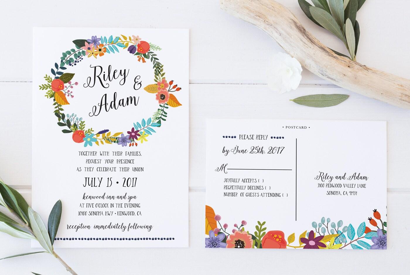 Print Out Wedding Invitations: Boho Wedding Invitation Printable Wedding Invitation Boho