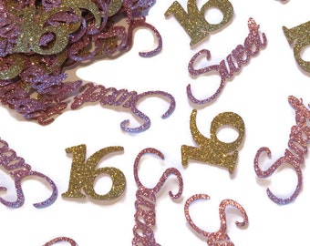 Sweet 16 confetti, pink and gold sweet sixteen party decorations, ready in 1 week, 16th birthday ideas, custom, 50CT, glitter, teens, girls