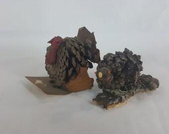Pair vintage pinecone handmade turkeys