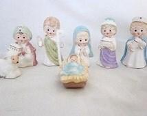 Vintage Lefton Era 7 Piece Christmas Nativity Set Japan Very Rare