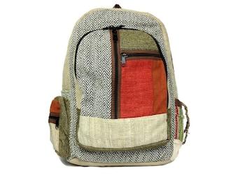 Hemp Backpack. Hemp bag very colorful. Book Bag, Hippie school Bag. With Padded Laptop Sleeve.