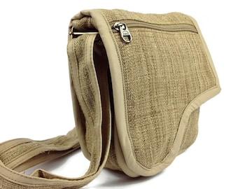 Handmade Hemp Sling Bag. Small Hippie Purse. Bohemian Purse. Hobo Handbag