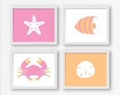 Nautical Prints in Pink & Orange: Fish, Sand Dollar, Crab, Starfish Printable Wall Art for Nursery, Kid's Room Decor, Beach Digital Print
