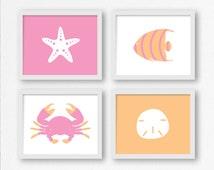 Nautical Prints in Pink & Orange: Fish, Sand Dollar, Crab, Starfish Printable Wall Art for Nursery, Kid's Room Decor, Beach Digital Print