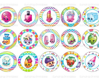 "Shopkins Bottle Cap Images ~ Instant Download ~ 1"" Circle ~ Hairbow Centers ~ Bottlecap ~ Magnet Sheets ~ Printable Image Sheet SH-112"