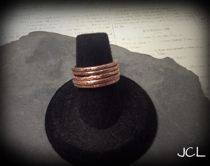 Stackable copper ring bands (set of 5)
