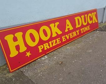 Original Fairground Game Sign 'Hook A Duck'. Fairgound/Funfair/Memorabilia