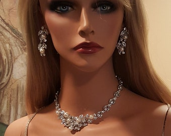 Bridal Pearl Austrian Crystal Necklace Set / Wedding Silver Pearl Necklace Set