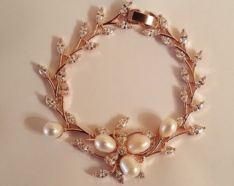 Bridal Rose Gold Pearl CZ Bracelet / Wedding Rose Gold Bracelet CZ pearls