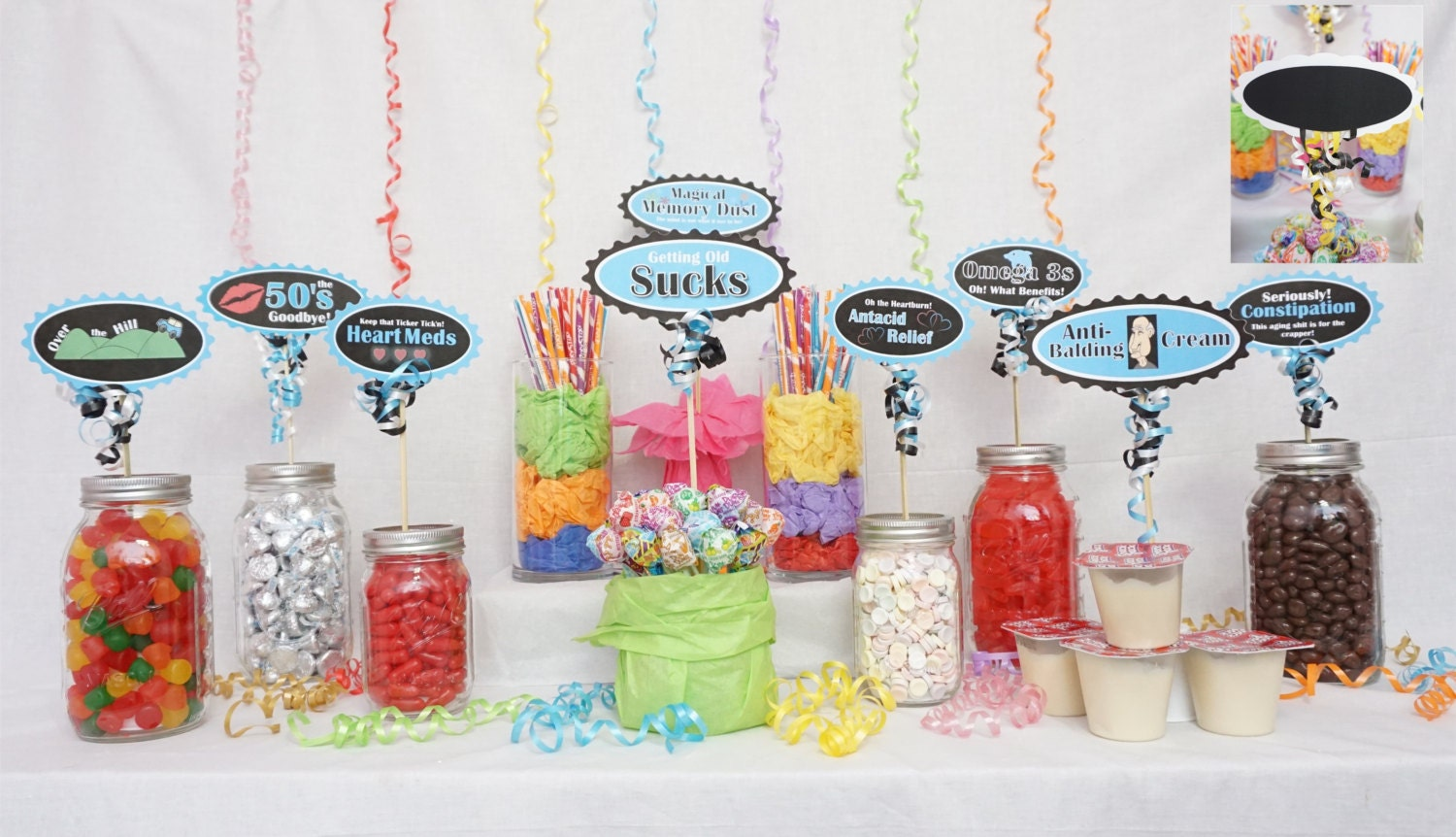 60th candy buffet signs available in 9 colors 60th birthday for 60th birthday decoration