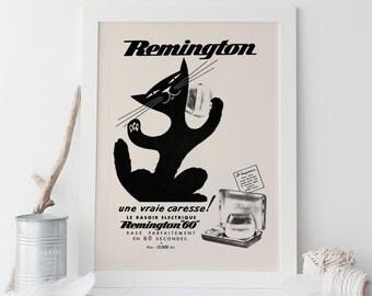 VINTAGE REMINGTON AD - Retro Shaving Ad - Classic Cat Poster, Vintage Cat Art, French Poster