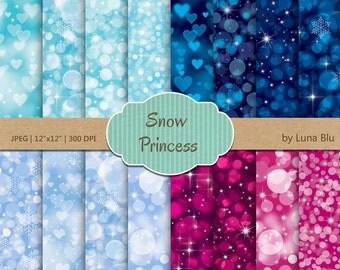 "Snow Princess Digital Paper pack: ""Snow Princess Bokeh"" winter bokeh lights in aqua, blue, magenta, with heart bokeh, snowflakes, sparkles"