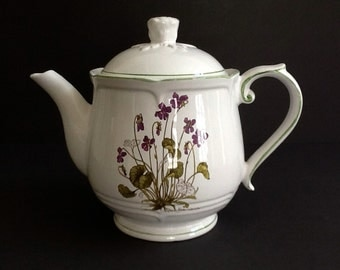 Hand Painted Porcelain Teapot, R B Bernarda, White Teapot with Floral Motif & Green Trim, Made in Portugal