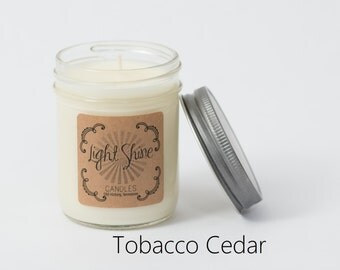 Tobacco Cedar | 8 ounce Soy Candle, Jar Candle