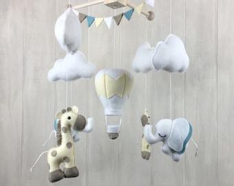 Elephant mobile - giraffe mobile - hot air balloon mobile - baby mobile - crib mobile - baby crib mobiles - clouds - gender neutral mobile