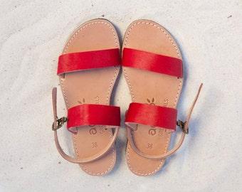aelia/apostasy collection/red two straps /pony skin /leather/