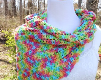 Crochet ladies summer scarf, multi-color neck wrap, women's lightweight spring apparel, gift for her, triangle neckwrap