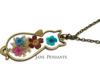 Dried flowers cat cats kitten bronze silouhette necklace jewelry