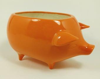 Ceramic Pig Planter -  Orange Glaze - Handmade - Retro '60s Style - Ready to Ship