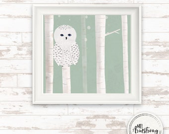 square, nursery art print, owl woodland winter art print, Giclee Art Print, archival art print, owl print, woodland art print